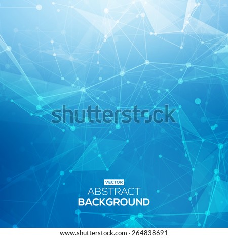 Abstract low poly blue bright technology vector background. Connection structure. Vector data science background. Polygonal vector background. Molecule And Communication Background. - stock vector