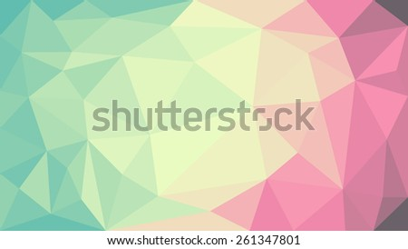 Abstract low poly, geometry triangle, mosaic pastel color background - stock vector