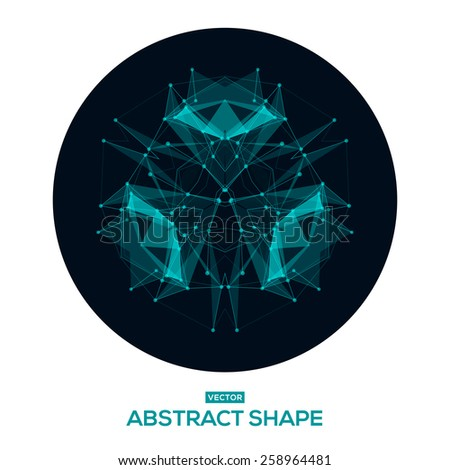 Abstract, low poly, HUD, futuristic, space shape. Futuristic HUD background. Vector  - stock vector