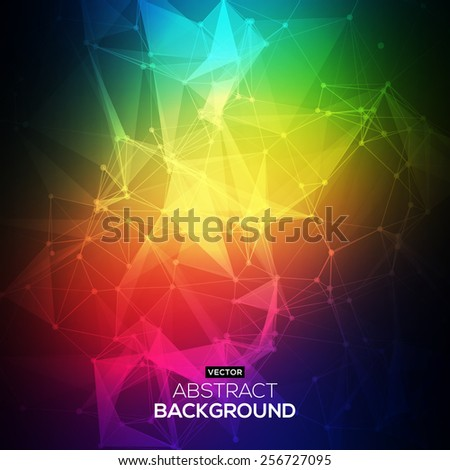 Abstract Low poly, Molecule And Communication Background. Abstract colorfull bright technology vector background. Connection structure. Vector science background. Polygonal vector background. - stock vector