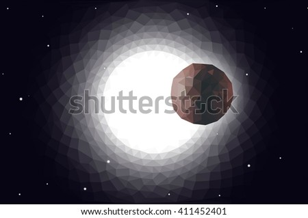 abstract low poly planet sun transit vector - stock vector