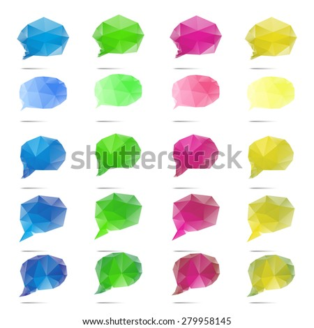 Abstract low-poly speech bubble vector on white background - stock vector