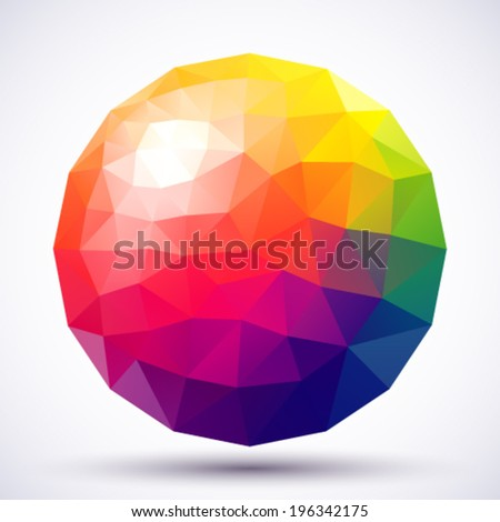 Abstract low-poly sphere. - stock vector