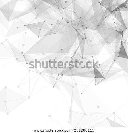 Abstract low poly white bright technology vector background. Connection structure. Vector data science background. Polygonal vector background. Molecule And Communication Background. - stock vector