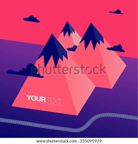 Abstract low-polygon 3D mountains landscape in surreal colors with road and clouds and your text.  Eps 10 vector illustration  - stock vector