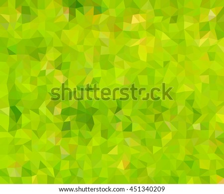 Abstract low polygonal - mosaic, geometry, hexagonal, background in colors of nature - green, yellow, brown - stock vector