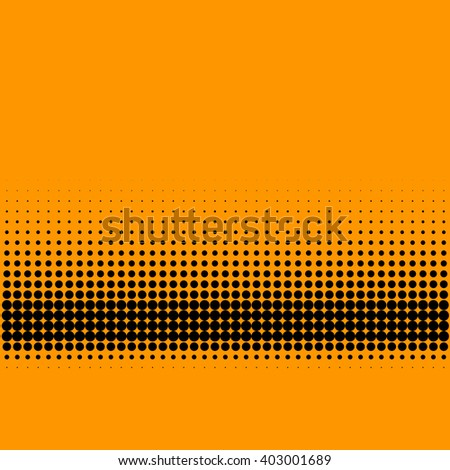 Abstract lower third halftone gradient pattern on orange background - stock vector