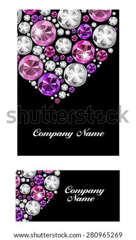 Abstract Luxury Black Diamond Business Card Vector Illustration EPS10 - stock vector