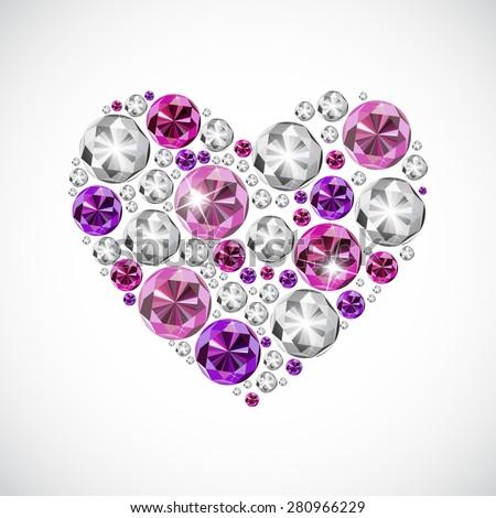 Abstract Luxury Diamond Heart Vector Illustration EPS10 - stock vector