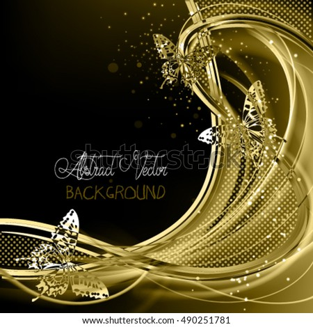 Abstract luxury golden background with three butterflies.Expensive vector frame with glowing filament.