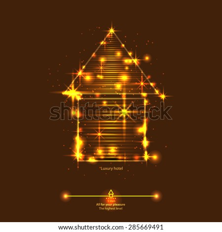 abstract luxury house or hotel. Emblem or logo for your  		 real estate brokerage business, hotel business or other. - stock vector