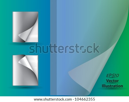 Abstract magazines with page curls and copyspace on blue - green background and transparent cover - stock vector