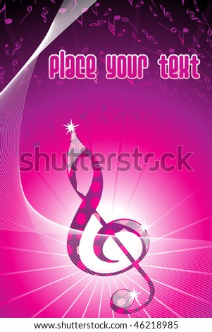 abstract magenta wavy background with musical notes - stock vector