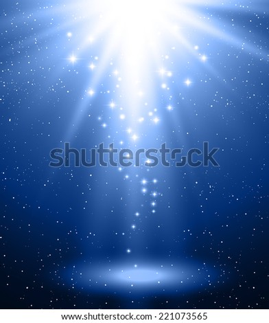 Abstract magic light background. Blue burst and star - stock vector