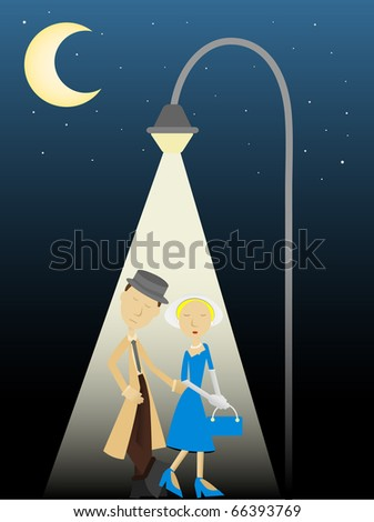 Abstract Male Detective and femme fatale walking under a big bright street light at night moon, stars vector illustration