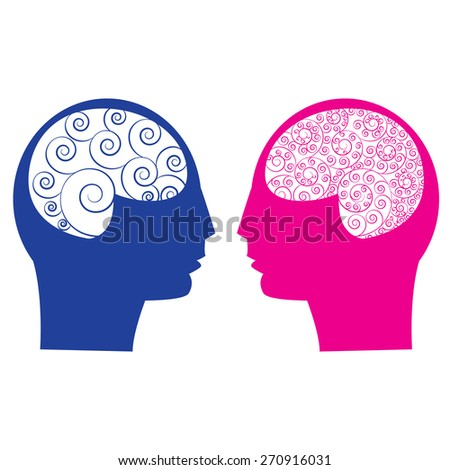Abstract male vs female brain ,think , idea, ability. Spiral human brain, Artist designer brain