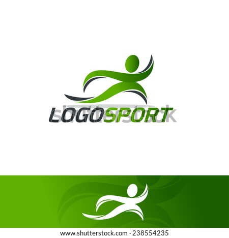 abstract man design concept Academy, sports club, running club and fitness vector logo design template  - stock vector