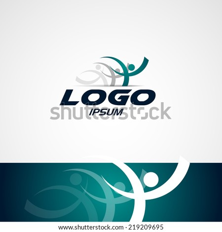 abstract man design concept onlain Academy, sports club, running club and fitness vector logo design template  - stock vector