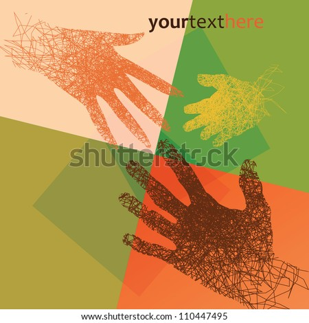 Abstract man, woman and baby hands on multicolored background - stock vector