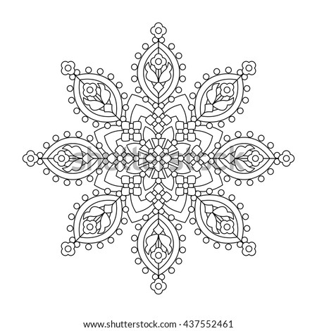 snowflake color stock images, royalty-free images & vectors ... - Mandala Snowflakes Coloring Pages