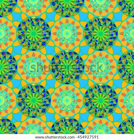 Abstract mandala seamless pattern in green and orange colors. - stock vector