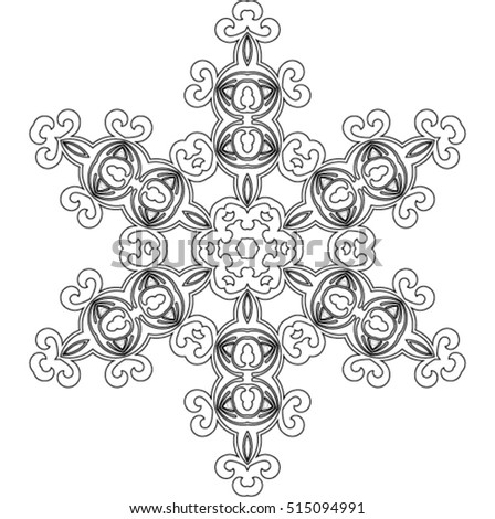 Abstract mandala snowflake line art design or coloring page. Vector illustration. Good idea for greeting cards, invitations, prints, textiles, tattoo.