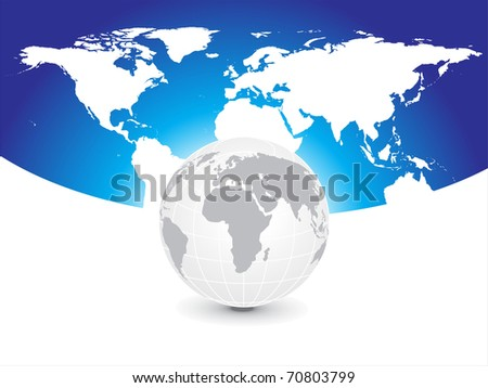abstract map background with globe, vector illustration
