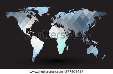 abstract map in polygon style. Elements of this image furnished by NASA