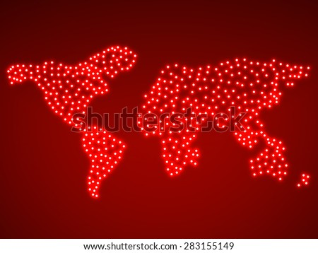 Abstract map of the earth with glowing. Vector illustration. Eps10 - stock vector