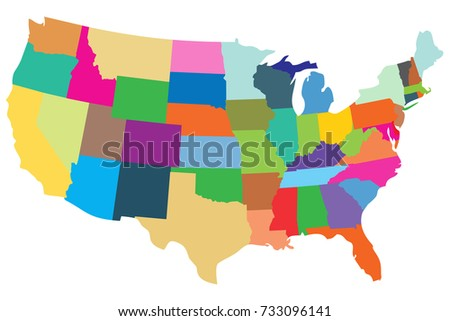 Political Map Usa United States America Stock Vector - Political map united states
