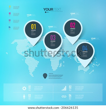 Abstract map pin icon design with shadows on minimal world map background  Eps 10 stock vector illustration  - stock vector