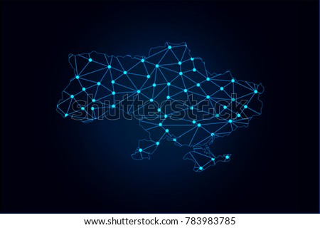 Abstract mash line and point scales on dark background with map of Ukraine. Wire frame 3D mesh polygonal network line, design sphere, dot and structure. Vector illustration eps 10.