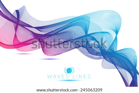 abstract massive blend colorful waves gradient light  lines bright vector - stock vector