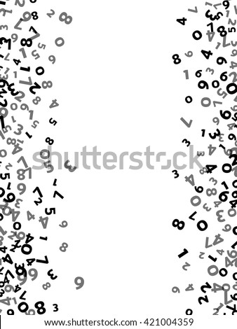 Abstract math number background. Vector illustration for business design. Black white colors. Random sign flying border frame. School sheet. Numeral count concept. Algebra decoration. Report cover - stock vector