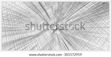 Abstract matrix wire frame of building. Vector illustration. - stock vector