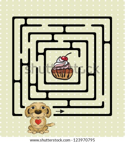 Abstract Maze With Cute Dog - stock vector