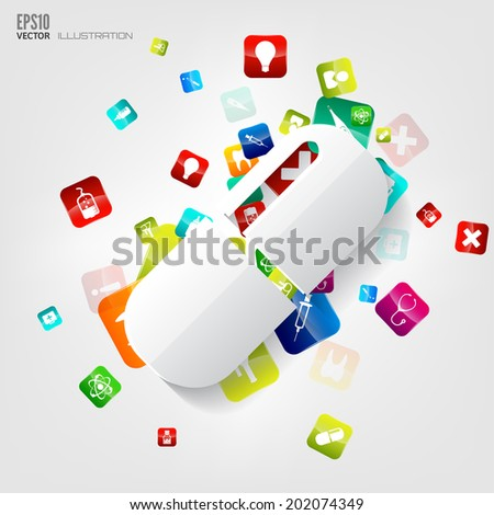 Abstract medical background with application icons.
