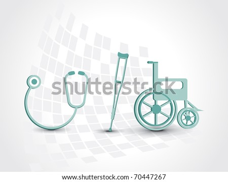 abstract medical background with armchair, wheelchair and stethoscope - stock vector