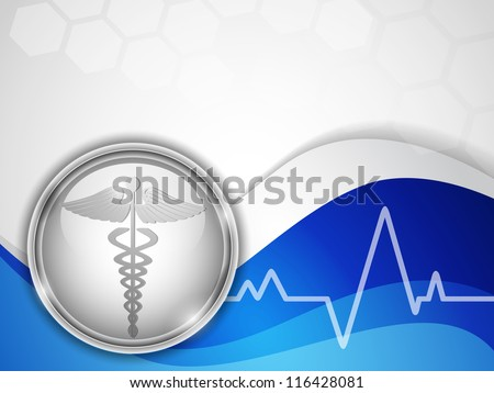 Abstract medical background with caduceus medical symbol. EPS 10. - stock vector