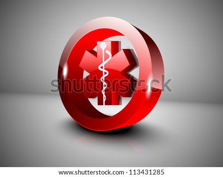 Abstract medical background with 3D caduceus medical symbol. EPS 10. - stock vector