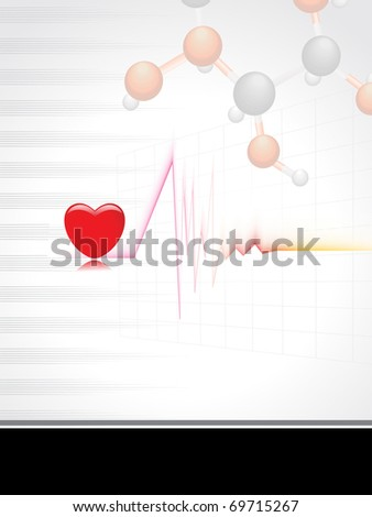 abstract medical background with heartbeat, heart - stock vector