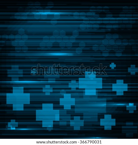 Abstract medical blue stripes and crosses background