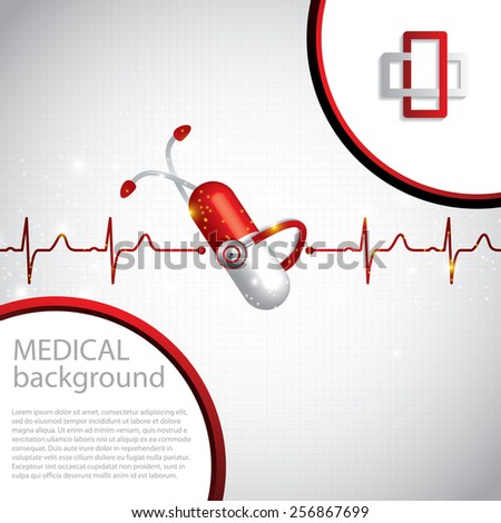 Abstract medical cardiology ekg background  - stock vector