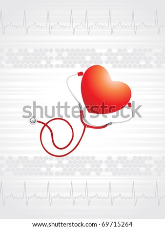 abstract medical heartbeat background with stethoscope, heart - stock vector