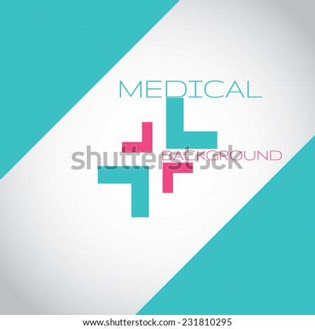 Abstract medical hospital pharmacy sign turquoise editable background  - stock vector