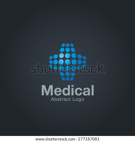 Abstract Medical logo template made of dots on dark background. Corporate branding identity - stock vector