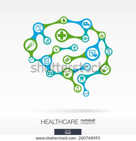 Abstract medicine background, connected metaball and integrated circles. Brain concept with medical, health, healthcare, nurse, tooth, doctor, pills and cross icon. Vector interactive illustration
