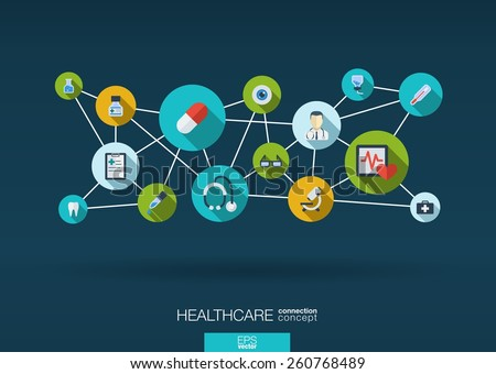 Abstract medicine background with lines, circles and integrate flat icons. Infographic concept with medical, health, healthcare, nurse, DNA, pills connected symbols. Vector interactive illustration. - stock vector