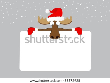 abstract merry christmas background with reindeer - stock vector