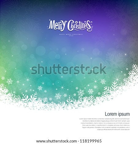 Abstract Merry Christmas snowflakes colorful background, vector illustration - stock vector